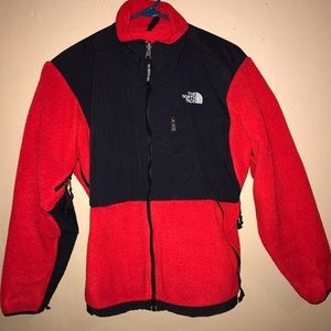 North face red fleece jacket women's